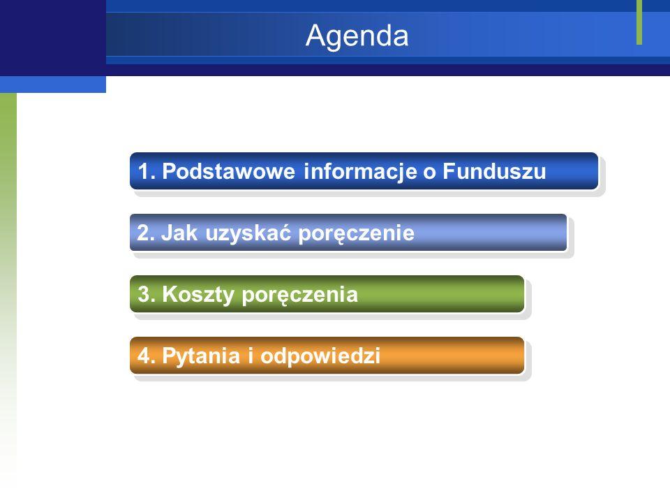 Agenda 1.Podstawowe informacje o Funduszu 2. Jak uzyskać poręczenie 3.