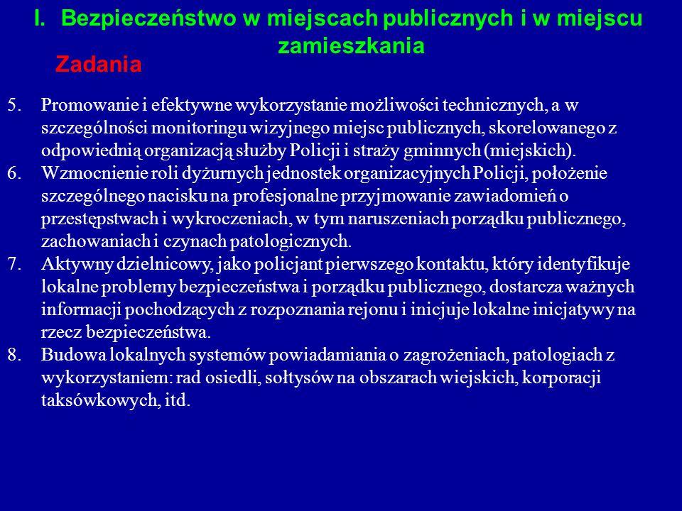 I.Bezpieczeństwo w miejscach publicznych i w miejscu zamieszkania Zadania 5.Promowanie i efektywne wykorzystanie możliwości technicznych, a w szczegól