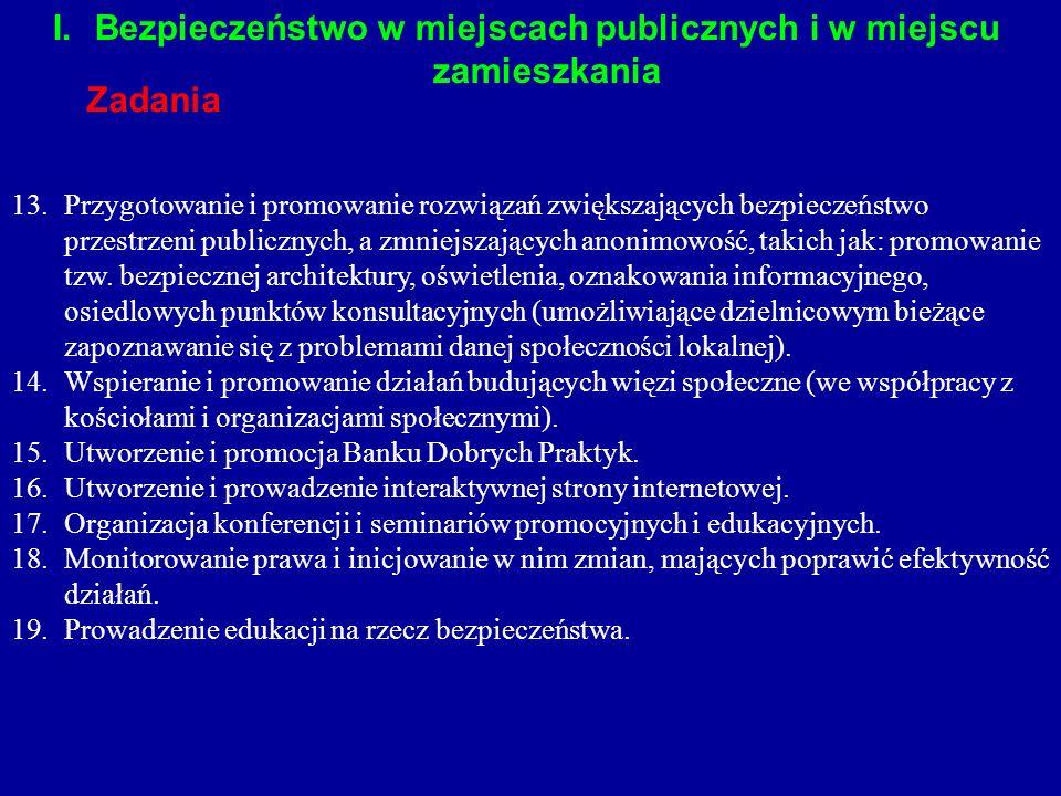 13.Przygotowanie i promowanie rozwiązań zwiększających bezpieczeństwo przestrzeni publicznych, a zmniejszających anonimowość, takich jak: promowanie t