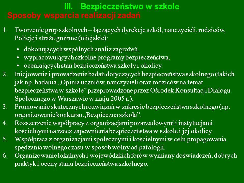 III.Bezpieczeństwo w szkole Sposoby wsparcia realizacji zadań 1.Tworzenie grup szkolnych – łączących dyrekcje szkół, nauczycieli, rodziców, Policję i
