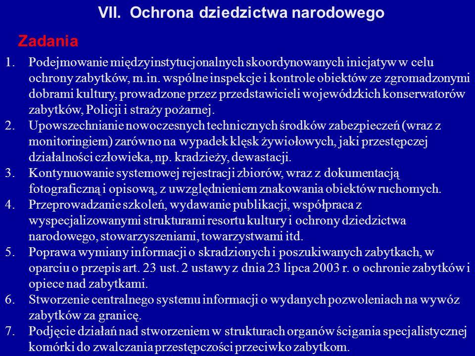 VII.Ochrona dziedzictwa narodowego Zadania 1.Podejmowanie międzyinstytucjonalnych skoordynowanych inicjatyw w celu ochrony zabytków, m.in. wspólne ins
