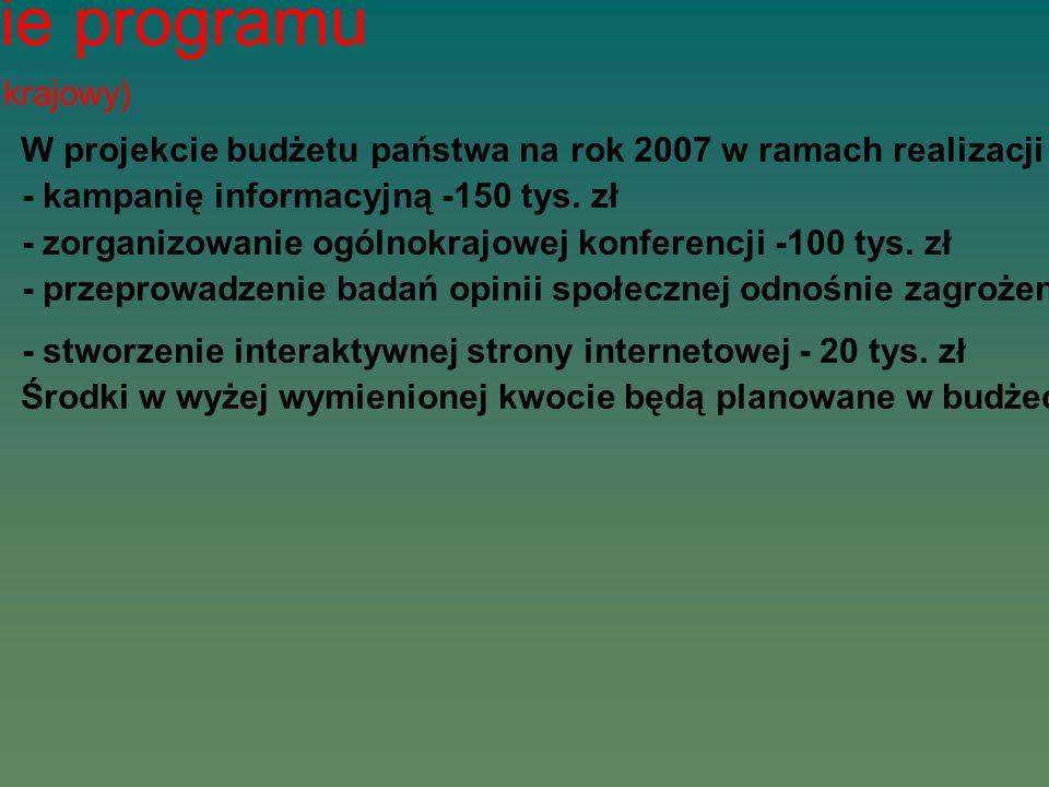Finansowanie programu (poziom krajowy) W projekcie budżetu państwa na rok 2007 w ramach realizacji nowych zadań zabezpieczono na realizację programu R
