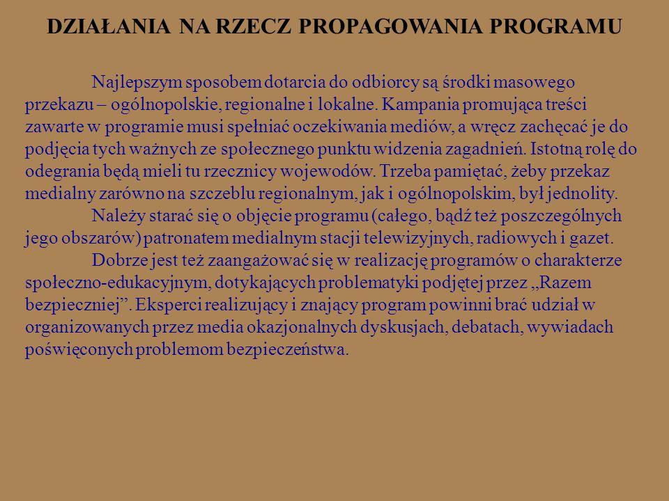 DZIAŁANIA NA RZECZ PROPAGOWANIA PROGRAMU Najlepszym sposobem dotarcia do odbiorcy są środki masowego przekazu – ogólnopolskie, regionalne i lokalne. K