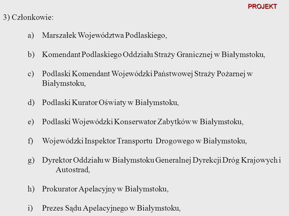 PROJEKT a)Marszałek Województwa Podlaskiego, b)Komendant Podlaskiego Oddziału Straży Granicznej w Białymstoku, c)Podlaski Komendant Wojewódzki Państwo