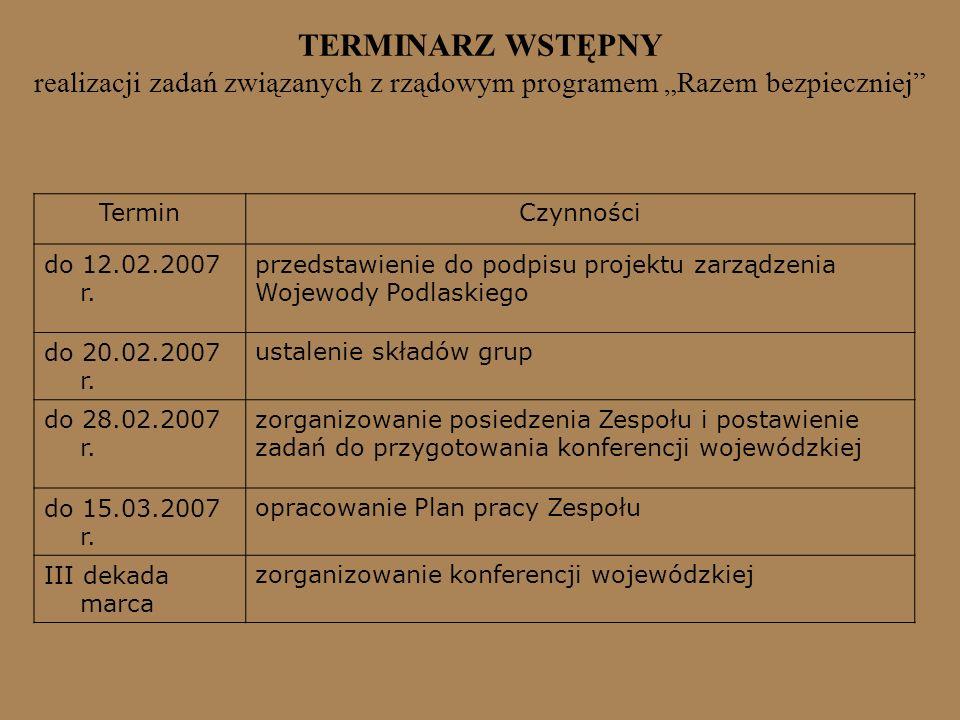 TERMINARZ WSTĘPNY realizacji zadań związanych z rządowym programem Razem bezpieczniej TerminCzynności do 12.02.2007 r. przedstawienie do podpisu proje