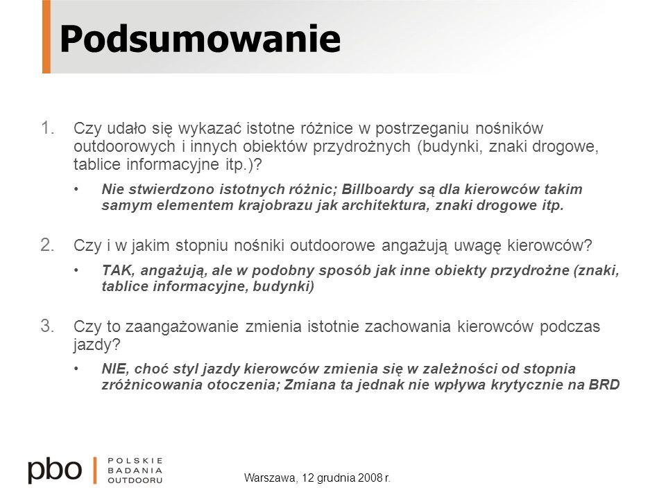 Warszawa, 12 grudnia 2008 r. Podsumowanie 1. Czy udało się wykazać istotne różnice w postrzeganiu nośników outdoorowych i innych obiektów przydrożnych