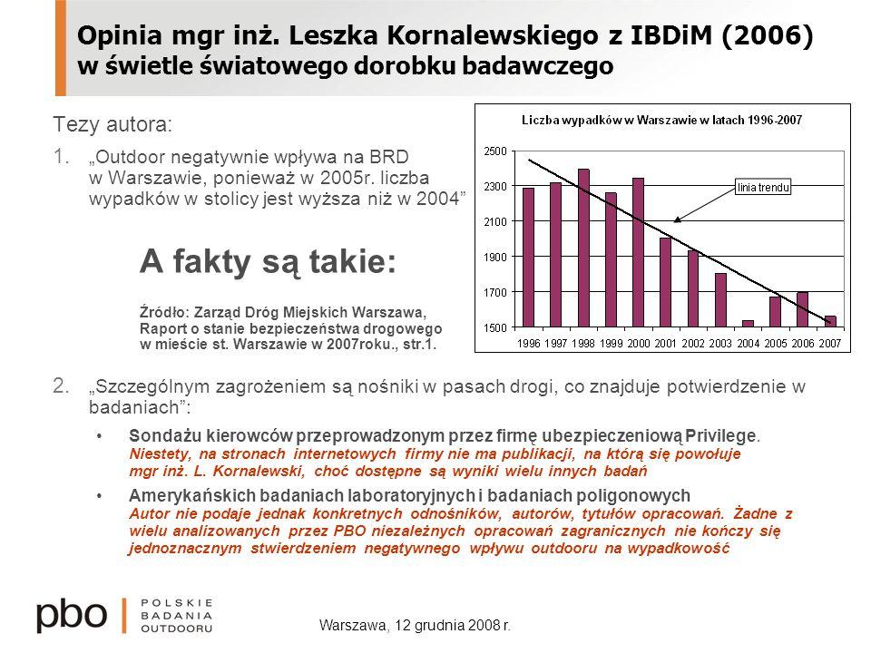 Warszawa, 12 grudnia 2008 r. Opinia mgr inż. Leszka Kornalewskiego z IBDiM (2006) w świetle światowego dorobku badawczego Tezy autora: 1. Outdoor nega