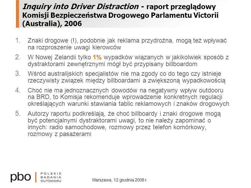 Warszawa, 12 grudnia 2008 r. Inquiry into Driver Distraction - raport przeglądowy Komisji Bezpieczeństwa Drogowego Parlamentu Victorii (Australia), 20