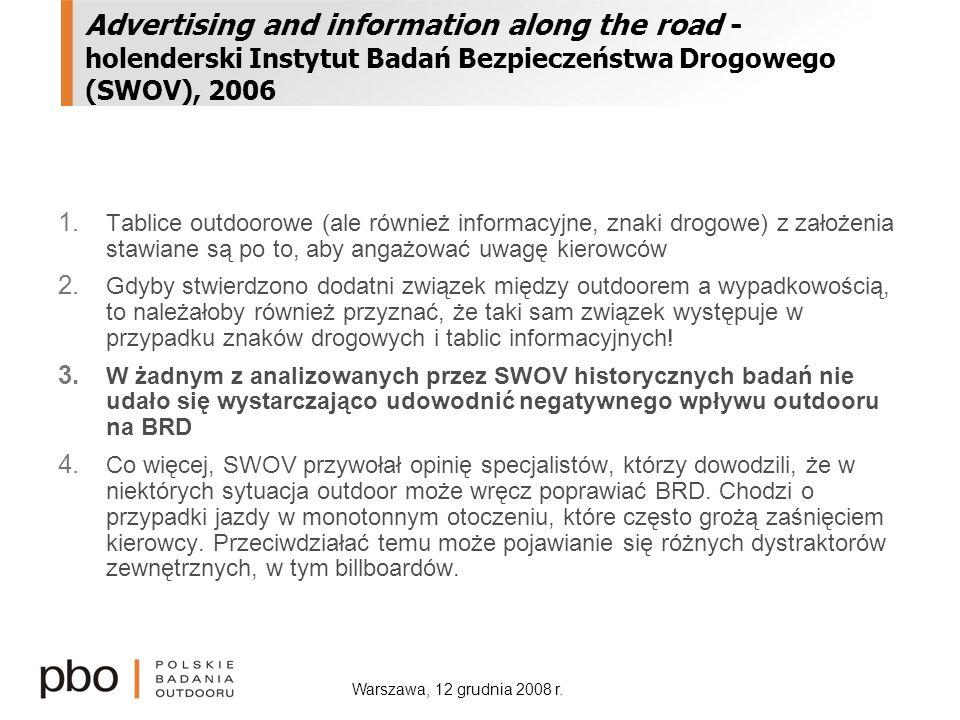 Warszawa, 12 grudnia 2008 r. Advertising and information along the road - holenderski Instytut Badań Bezpieczeństwa Drogowego (SWOV), 2006 1. Tablice