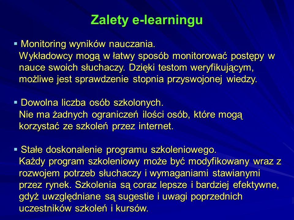Zalety e-learningu Monitoring wyników nauczania.Monitoring wyników nauczania.
