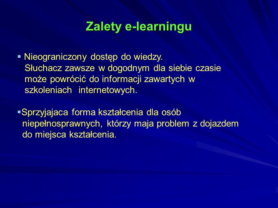Zalety e-learningu Nieograniczony dostęp do wiedzy.
