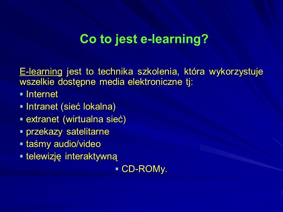 jest najczęściej kojarzony z nauczaniem, w którym stroną przekazującą wiedzę i egzaminującą jest komputer, dlatego tę formę nauki nazywamy distance learning czyli kształcenie na odległość, w którym brak jest fizycznego kontaktu z nauczycielem.