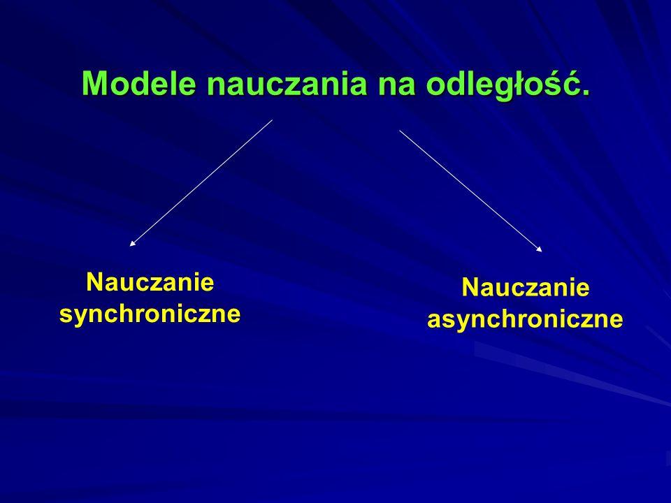 Dwa modele nauczania na odległość Synchroniczny czyli udział w wirtualnych zajęciach prowadzonych przez nauczyciela z grupą studentów, z wykorzystaniem łączności internetowej w tym samym czasie.