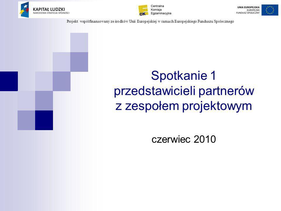 Projekt współfinansowany ze środków Unii Europejskiej w ramach Europejskiego Funduszu Społecznego Cele spotkania: Omówienie zadań i harmonogramu prac w projekcie Modernizacja egzaminów potwierdzających kwalifikacje zawodowe, w tym: celów i rezultatów projektu struktury działań w projekcie zadań i harmonogramów prac w poszczególnych komponentach zadań realizowanych przez oke w ramach partnerstwa