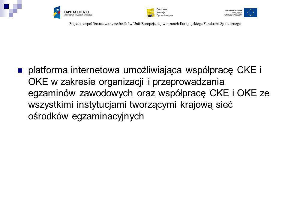 Projekt współfinansowany ze środków Unii Europejskiej w ramach Europejskiego Funduszu Społecznego platforma internetowa umożliwiająca współpracę CKE i OKE w zakresie organizacji i przeprowadzania egzaminów zawodowych oraz współpracę CKE i OKE ze wszystkimi instytucjami tworzącymi krajową sieć ośrodków egzaminacyjnych