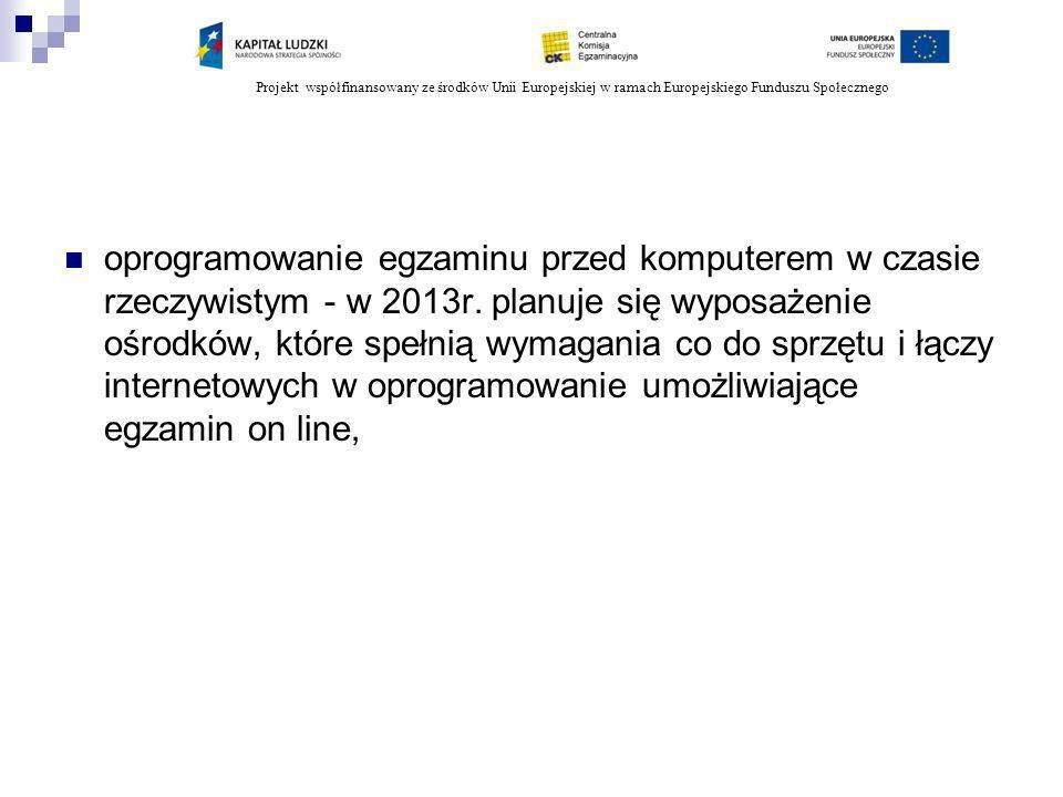 Projekt współfinansowany ze środków Unii Europejskiej w ramach Europejskiego Funduszu Społecznego oprogramowanie egzaminu przed komputerem w czasie rz