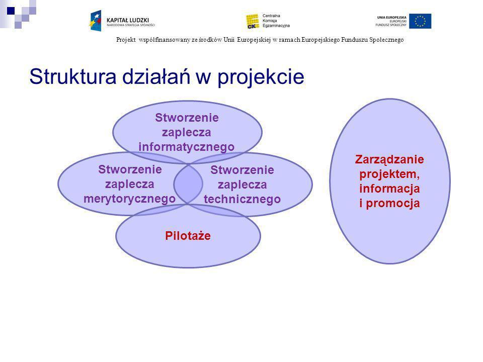 Projekt współfinansowany ze środków Unii Europejskiej w ramach Europejskiego Funduszu Społecznego Struktura działań w projekcie Stworzenie zaplecza merytorycznego Stworzenie zaplecza technicznego Stworzenie zaplecza informatycznego Pilotaże Zarządzanie projektem, informacja i promocja