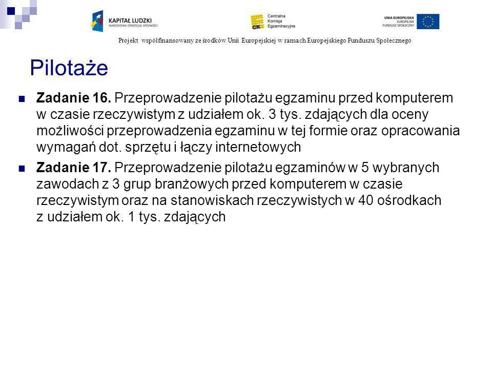 Projekt współfinansowany ze środków Unii Europejskiej w ramach Europejskiego Funduszu Społecznego Pilotaże Zadanie 16. Przeprowadzenie pilotażu egzami