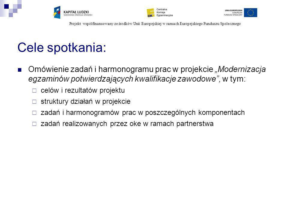 Projekt współfinansowany ze środków Unii Europejskiej w ramach Europejskiego Funduszu Społecznego Cele spotkania: Omówienie zadań i harmonogramu prac
