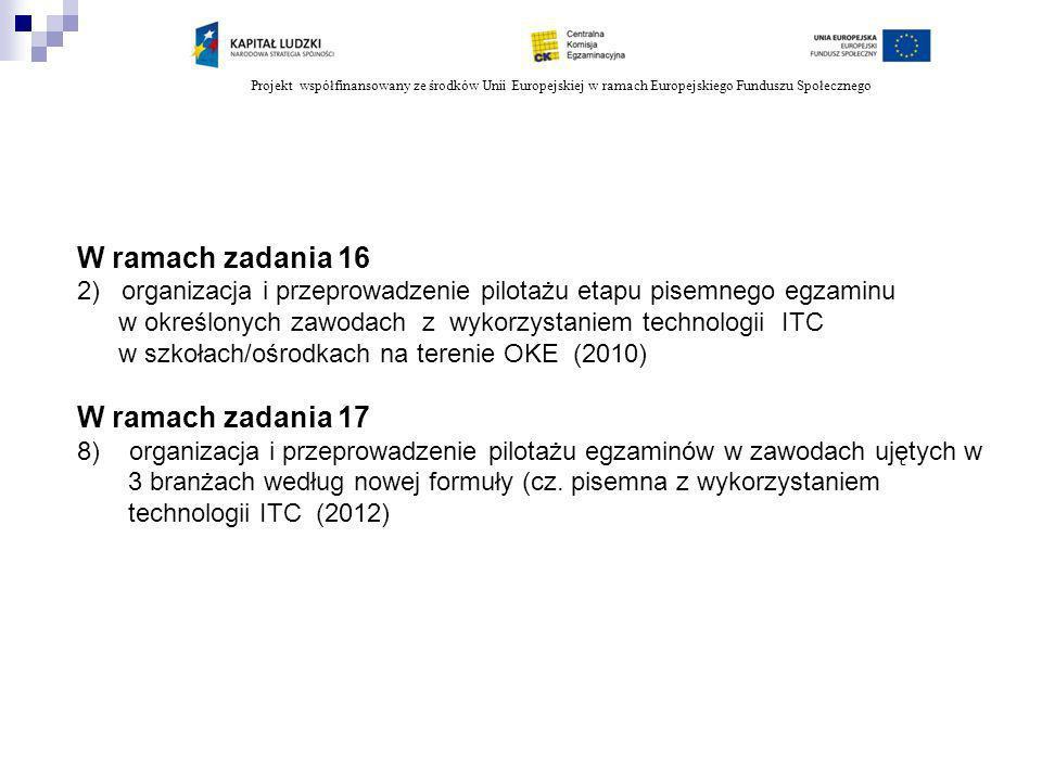 Projekt współfinansowany ze środków Unii Europejskiej w ramach Europejskiego Funduszu Społecznego W ramach zadania 16 2) organizacja i przeprowadzenie