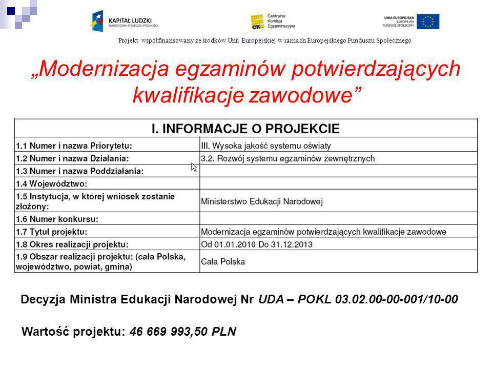 Projekt współfinansowany ze środków Unii Europejskiej w ramach Europejskiego Funduszu Społecznego Modernizacja egzaminów potwierdzających kwalifikacje zawodowe Decyzja Ministra Edukacji Narodowej Nr UDA – POKL 03.02.00-00-001/10-00 Wartość projektu: 46 669 993,50 PLN