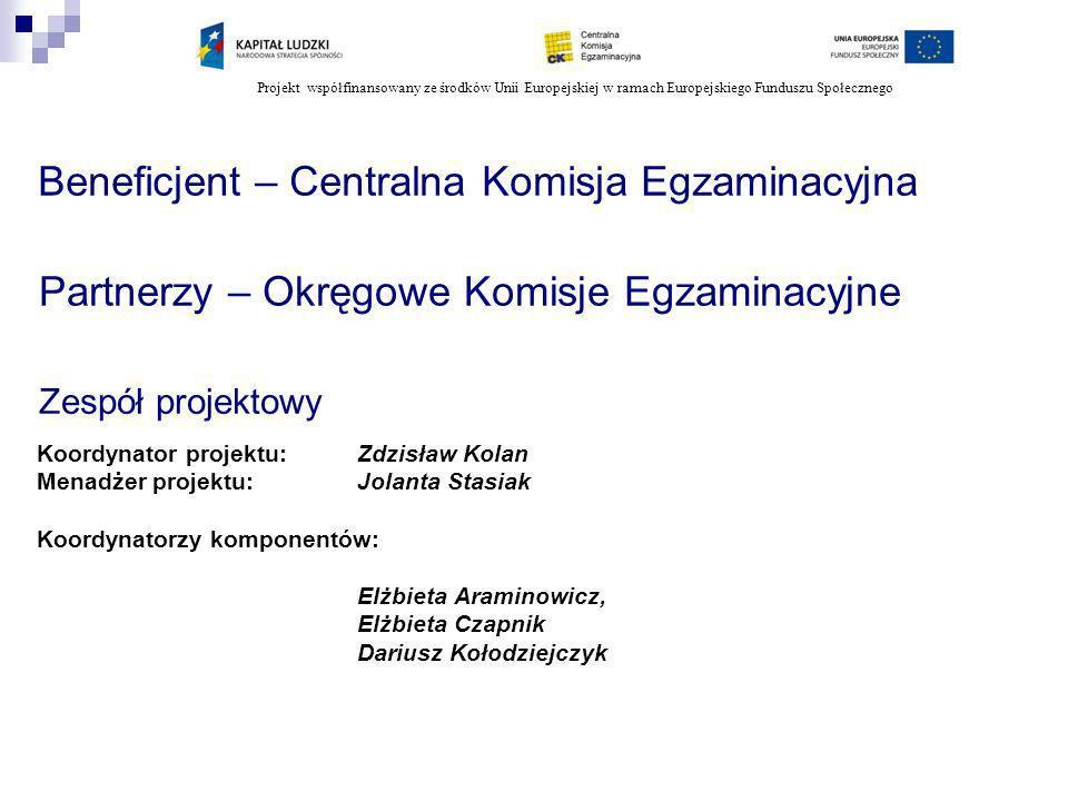 Projekt współfinansowany ze środków Unii Europejskiej w ramach Europejskiego Funduszu Społecznego W ramach zadania 16 2) organizacja i przeprowadzenie pilotażu etapu pisemnego egzaminu w określonych zawodach z wykorzystaniem technologii ITC w szkołach/ośrodkach na terenie OKE (2010) W ramach zadania 17 8) organizacja i przeprowadzenie pilotażu egzaminów w zawodach ujętych w 3 branżach według nowej formuły (cz.
