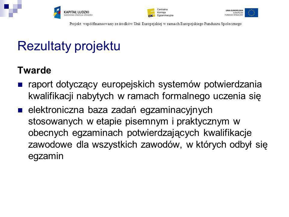 Projekt współfinansowany ze środków Unii Europejskiej w ramach Europejskiego Funduszu Społecznego Rezultaty projektu Twarde raport dotyczący europejsk