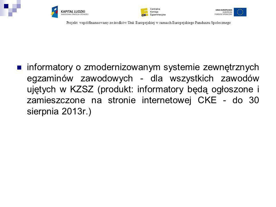 Projekt współfinansowany ze środków Unii Europejskiej w ramach Europejskiego Funduszu Społecznego Zadania oke w ramach partnerstwa W ramach zadania 2 7 - organizacja i przeprowadzenie w ośrodkach egzaminacyjnych etapu praktycznego egzaminu w nowej formule dla wybranych zawodów (2010) W ramach zadania 3 6 - opracowanie zadań egzaminacyjnych do nowej formuły egzaminu (2010-2013) W ramach zadania 4 3 - przygotowanie list autorów zadań oraz recenzentów współpracujących z OKE rekomendowanych do udziału w szkoleniach, (2010) 5 - organizacja i przeprowadzenie szkoleń dla kandydatów na autorów zadań dla kwalifikacji, w określonych zawodach (2010-2013) W ramach zadania 5 4 - przeprowadzenie rekrutacji kandydatów na autorów zadań do udziału w szkoleniach (2010)