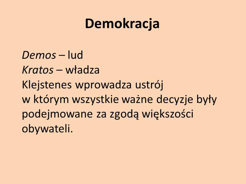 Demokracja Demos – lud Kratos – władza Klejstenes wprowadza ustrój w którym wszystkie ważne decyzje były podejmowane za zgodą większości obywateli.