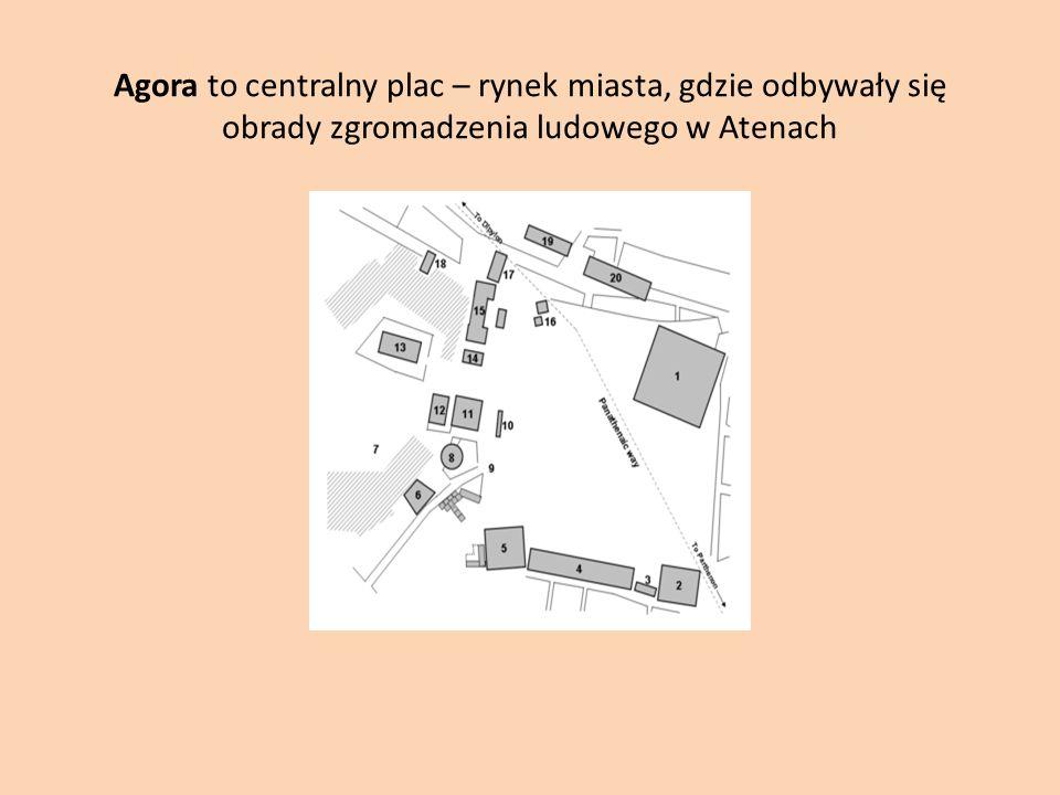 Agora to centralny plac – rynek miasta, gdzie odbywały się obrady zgromadzenia ludowego w Atenach