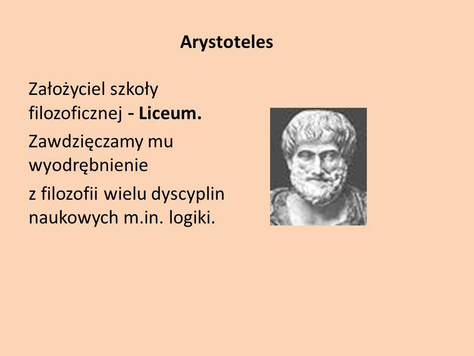 Arystoteles Założyciel szkoły filozoficznej - Liceum.