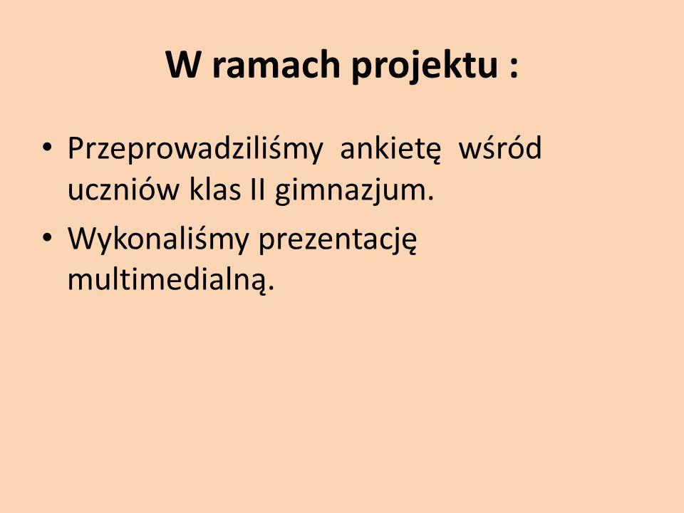 W ramach projektu : Przeprowadziliśmy ankietę wśród uczniów klas II gimnazjum.