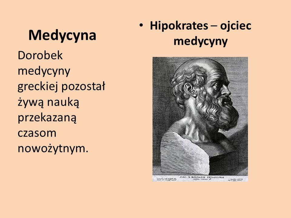 Medycyna Hipokrates – ojciec medycyny Dorobek medycyny greckiej pozostał żywą nauką przekazaną czasom nowożytnym.