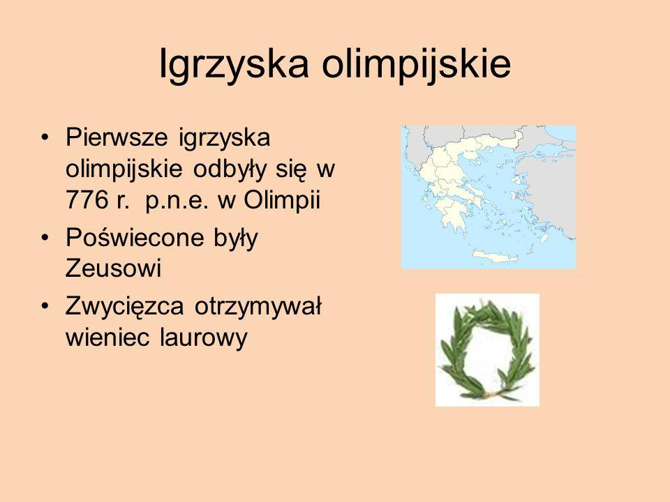 Igrzyska olimpijskie Pierwsze igrzyska olimpijskie odbyły się w 776 r.