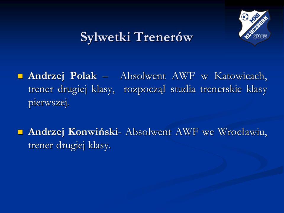 Sylwetki Trenerów Sylwetki Trenerów Andrzej Polak – Absolwent AWF w Katowicach, trener drugiej klasy, rozpoczął studia trenerskie klasy pierwszej. And