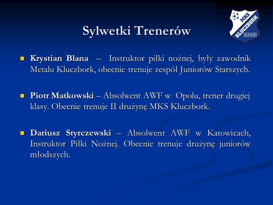 Sylwetki Trenerów Sylwetki Trenerów Krystian Blana – Instruktor piłki nożnej, były zawodnik Metalu Kluczbork, obecnie trenuje zespół Juniorów Starszyc