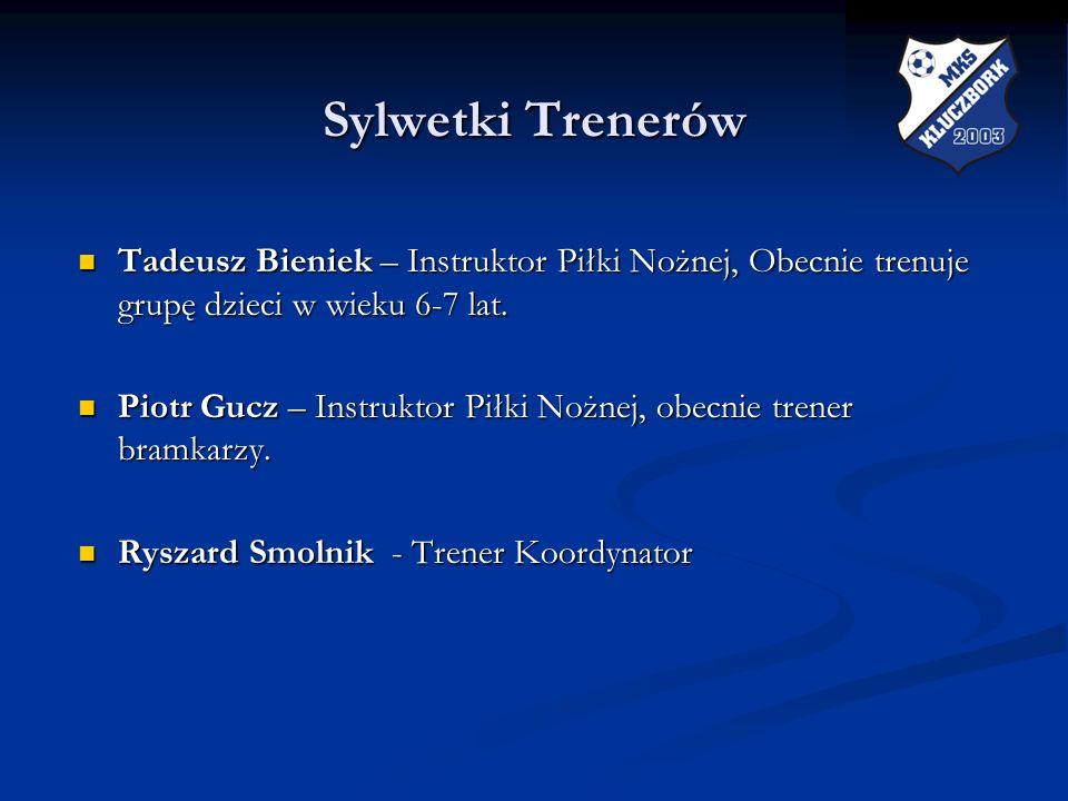 Sylwetki Trenerów Sylwetki Trenerów Tadeusz Bieniek – Instruktor Piłki Nożnej, Obecnie trenuje grupę dzieci w wieku 6-7 lat. Tadeusz Bieniek – Instruk