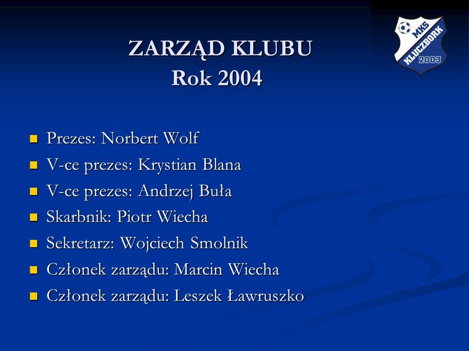 ZARZĄD KLUBU Rok 2004 ZARZĄD KLUBU Rok 2004 Prezes: Norbert Wolf Prezes: Norbert Wolf V-ce prezes: Krystian Blana V-ce prezes: Krystian Blana V-ce pre