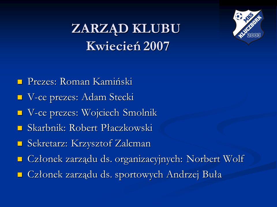 ZARZĄD KLUBU Kwiecień 2007 ZARZĄD KLUBU Kwiecień 2007 Prezes: Roman Kamiński Prezes: Roman Kamiński V-ce prezes: Adam Stecki V-ce prezes: Adam Stecki