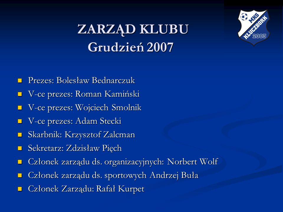 ZARZĄD KLUBU Grudzień 2007 ZARZĄD KLUBU Grudzień 2007 Prezes: Bolesław Bednarczuk Prezes: Bolesław Bednarczuk V-ce prezes: Roman Kamiński V-ce prezes: