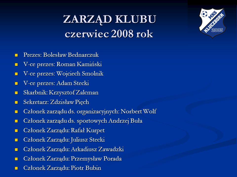 ZARZĄD KLUBU czerwiec 2008 rok ZARZĄD KLUBU czerwiec 2008 rok Prezes: Bolesław Bednarczuk Prezes: Bolesław Bednarczuk V-ce prezes: Roman Kamiński V-ce