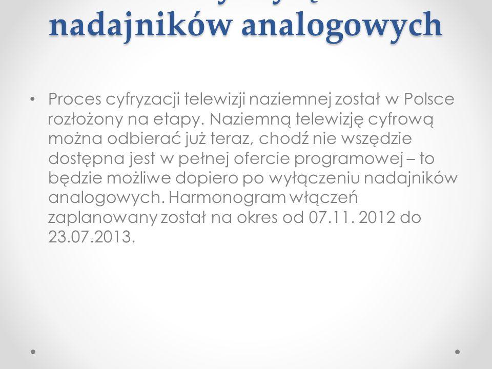 Terminy wyłączeo nadajników analogowych Proces cyfryzacji telewizji naziemnej został w Polsce rozłożony na etapy. Naziemną telewizję cyfrową można odb
