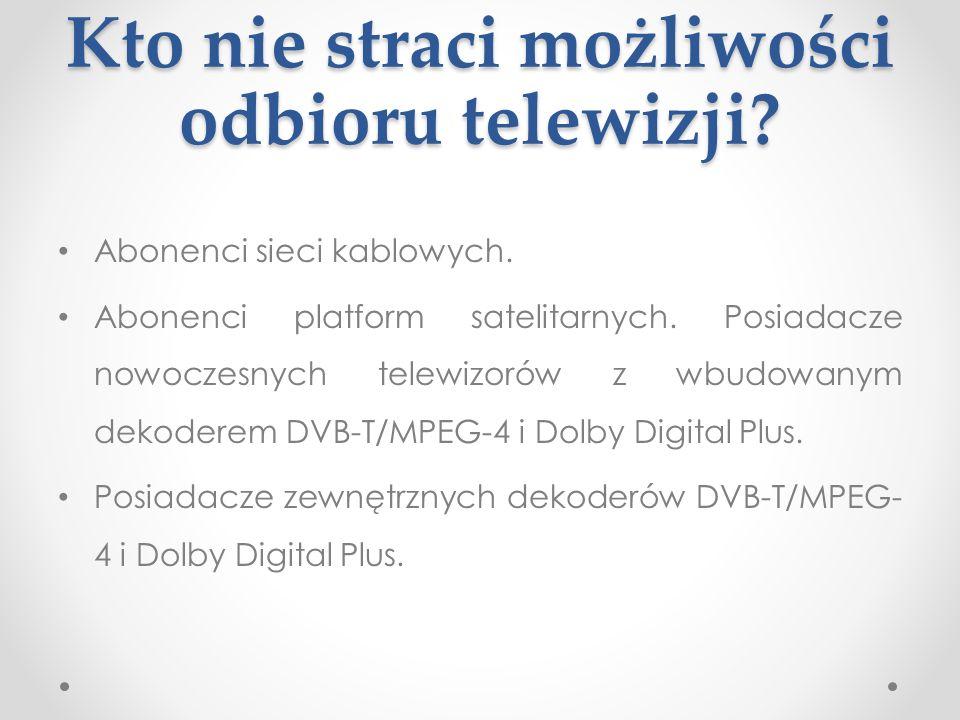 Kto nie straci możliwości odbioru telewizji? Abonenci sieci kablowych. Abonenci platform satelitarnych. Posiadacze nowoczesnych telewizorów z wbudowan