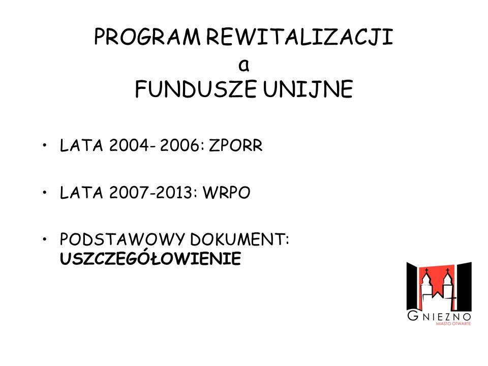 PROGRAM REWITALIZACJI a FUNDUSZE UNIJNE LATA 2004- 2006: ZPORR LATA 2007-2013: WRPO PODSTAWOWY DOKUMENT: USZCZEGÓŁOWIENIE