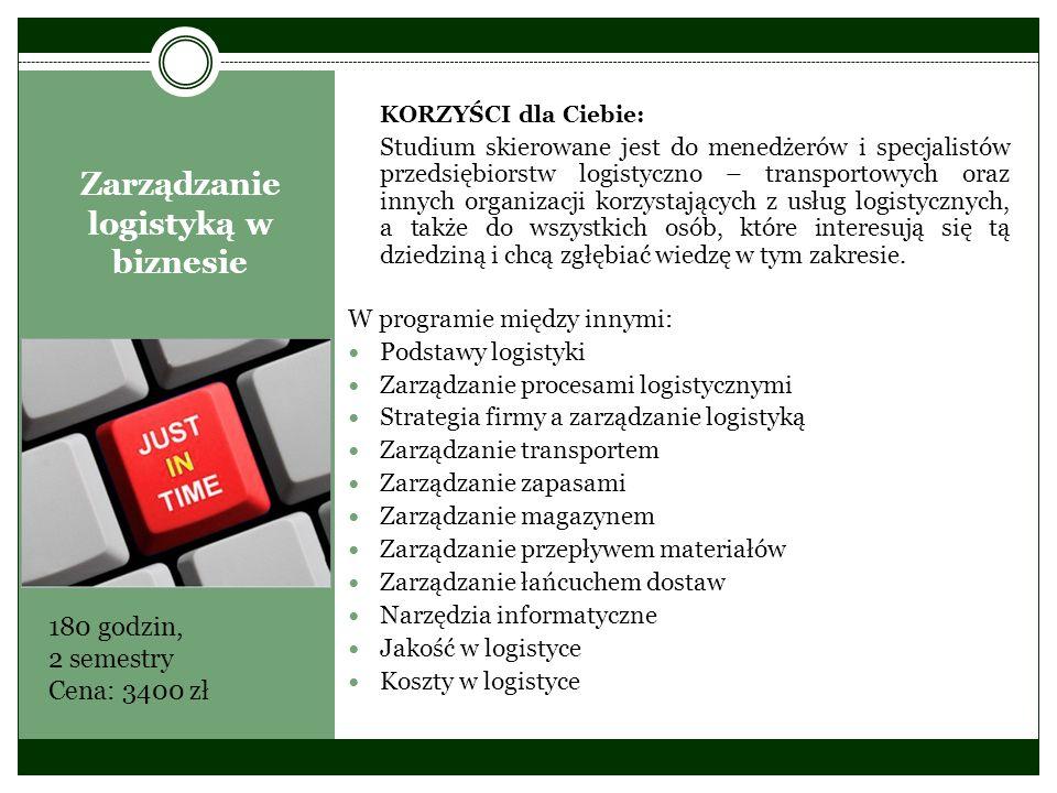 Zarządzanie logistyką w biznesie KORZYŚCI dla Ciebie: Studium skierowane jest do menedżerów i specjalistów przedsiębiorstw logistyczno – transportowyc