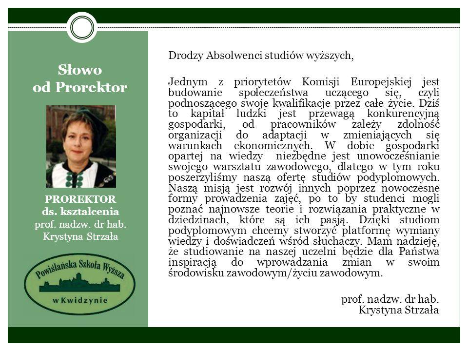 Słowo od Prorektor PROREKTOR ds. kształcenia prof. nadzw. dr hab. Krystyna Strzała Drodzy Absolwenci studiów wyższych, Jednym z priorytetów Komisji Eu