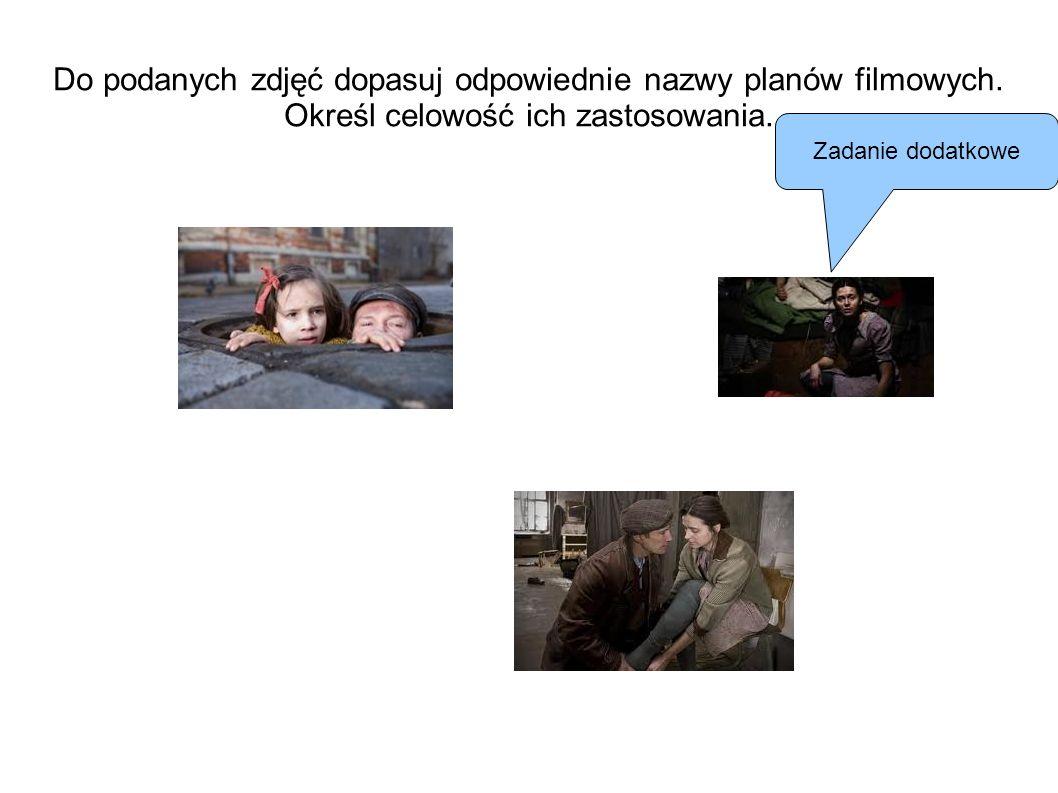 Do podanych zdjęć dopasuj odpowiednie nazwy planów filmowych. Określ celowość ich zastosowania. Zadanie dodatkowe