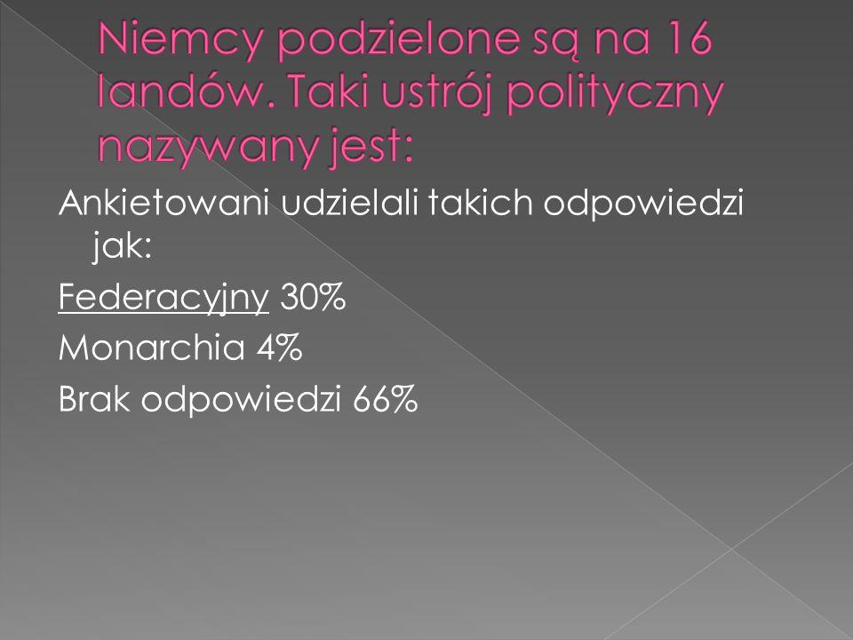 Ankietowani udzielali takich odpowiedzi jak: Federacyjny 30% Monarchia 4% Brak odpowiedzi 66%