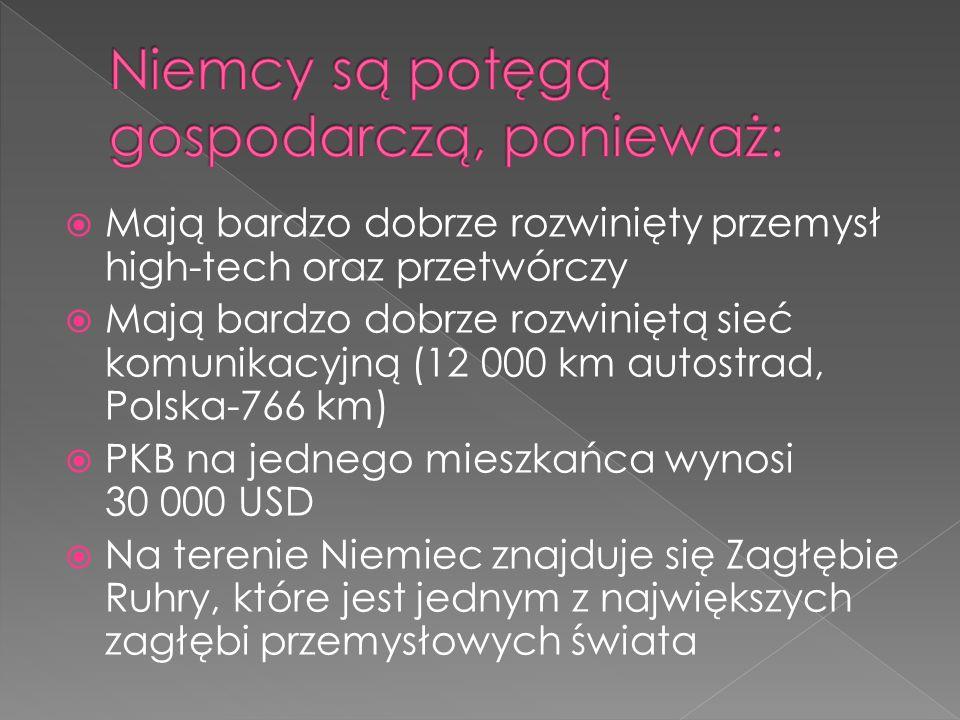 Mają bardzo dobrze rozwinięty przemysł high-tech oraz przetwórczy Mają bardzo dobrze rozwiniętą sieć komunikacyjną (12 000 km autostrad, Polska-766 km