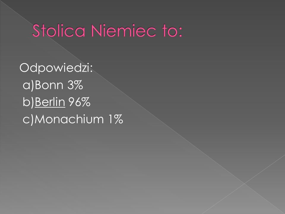 Odpowiedzi: a)Bonn 3% b)Berlin 96% c)Monachium 1%